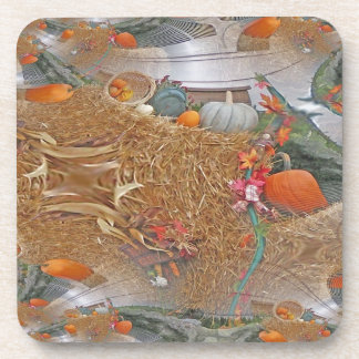 Pumpkins on Haystack With A Fractal Trace Drink Coasters