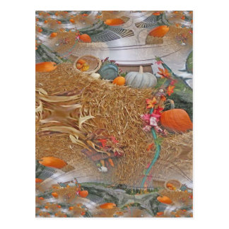 Pumpkins on Haystack With A Fractal Trace Postcard
