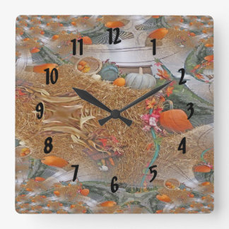 Pumpkins on Haystack With A Fractal Trace Square Wall Clock
