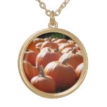 Pumpkins Photo for Fall, Halloween or Thanksgiving Gold Plated Necklace