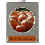 Pumpkins Photo for Fall, Halloween or Thanksgiving Silver Plated Banner Ornament