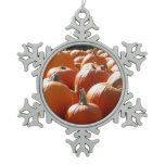 Pumpkins Photo for Fall, Halloween or Thanksgiving Snowflake Pewter Christmas Ornament