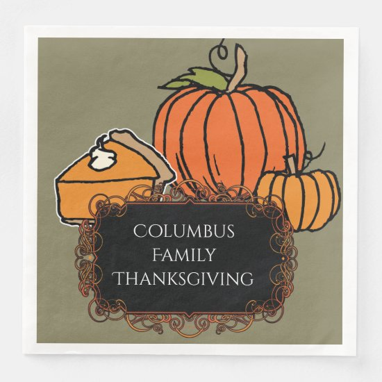 Pumpkins & Pumpkin Pie, Personalized Napkins