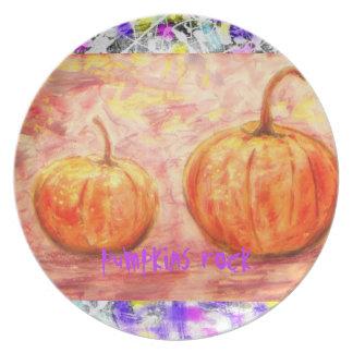 pumpkins rock art plate