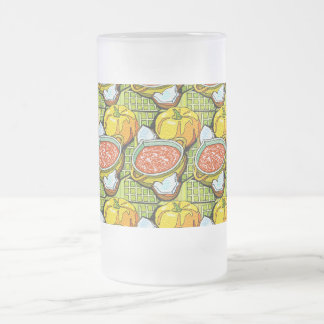 Pumpkins, Soup and Striped Background Frosted Glass Beer Mug