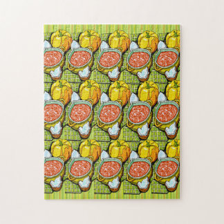 Pumpkins, Soup and Striped Background Jigsaw Puzzle
