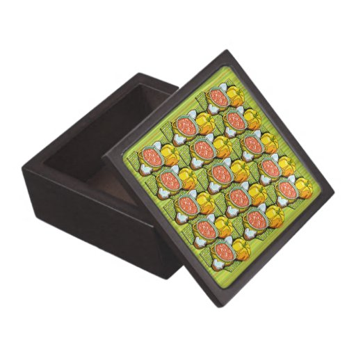 Pumpkins, Soup and Striped Background Premium Gift Boxes