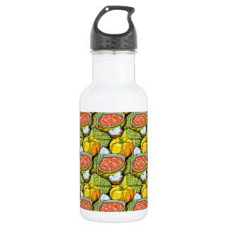 Pumpkins, Soup and Striped Background Stainless Steel Water Bottle