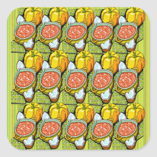 Pumpkins, Soup and Striped Background Square Sticker
