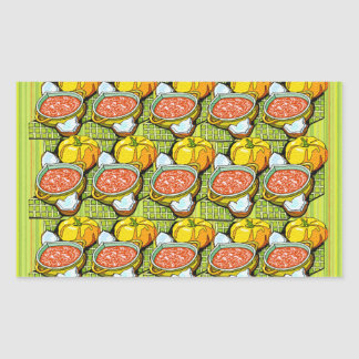 Pumpkins, Soup and Striped Background Rectangular Sticker