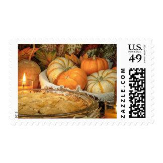 Pumpkins still life postage stamp