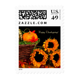 Pumpkins & Sunflowers Thanksgiving Postage Stamps