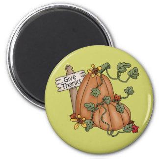 Pumpkins Thanksgiving Give Thanks Refrigerator Magnets