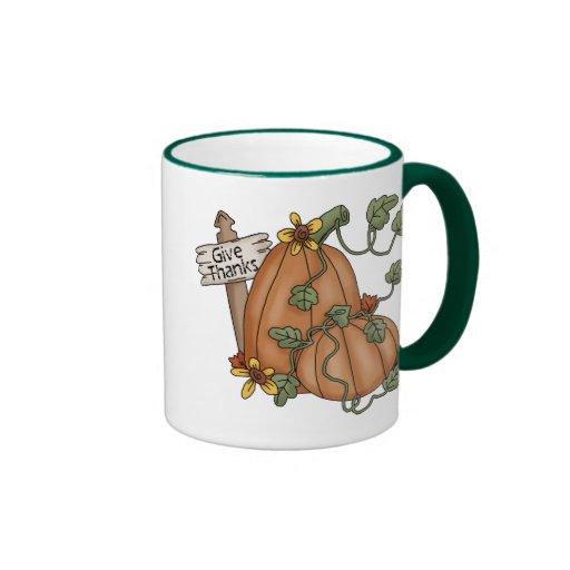 Pumpkins Thanksgiving Give Thanks Coffee Mugs