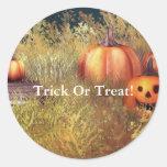 Pumpkins Trick Or Treat Sticker Round Sticker
