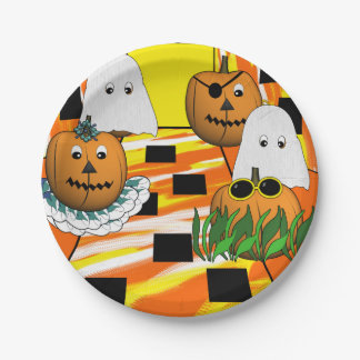 Pumpkins Trick or Treating 7 Inch Paper Plate