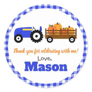 Pumpkins Truck Pumpkin Patch - Blue Tractor Round Classic Round Sticker