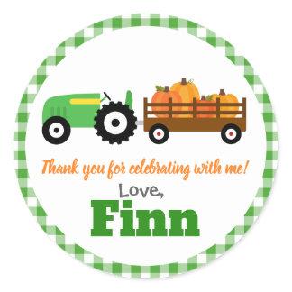 Pumpkins Truck Pumpkin Patch - Green Tractor Round Classic Round Sticker