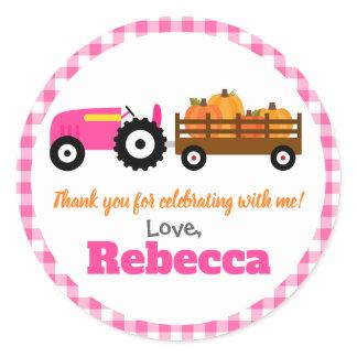 Pumpkins Truck Pumpkin Patch - Pink Tractor Round Classic Round Sticker