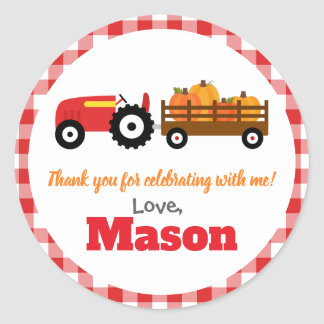 Pumpkins Truck Pumpkin Patch - Red Tractor Round Classic Round Sticker