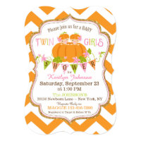 Pumpkins Twin Girls Fall Baby Shower Invitations