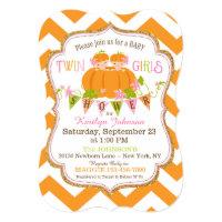 Pumpkins Twin Girls Fall Baby Shower Invitations