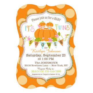 Pumpkins Twins Fall Baby Shower Invitations