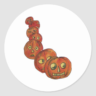Pumpkins (Vintage Halloween Card) Classic Round Sticker