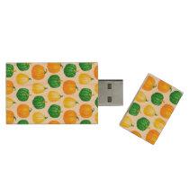 Pumpkins watercolor pattern wood flash drive