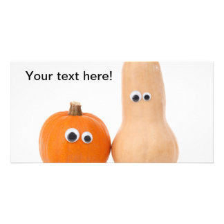 Pumpkins with eyes personalized photo card