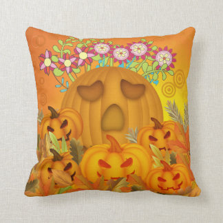 Pumpkins with Flowers  in Leaves Throw Pillow