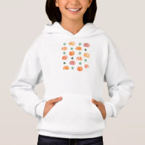 Pumpkins with Leaves Girl's Hoodie
