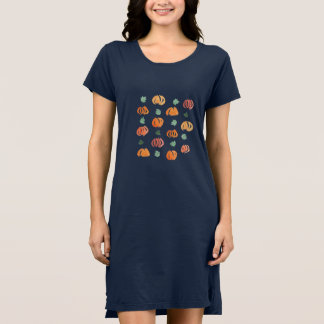 Pumpkins with Leaves Women's T-Shirt Dress