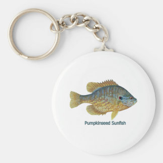 Pumpkinseed Sunfish (titled) Basic Round Button Keychain