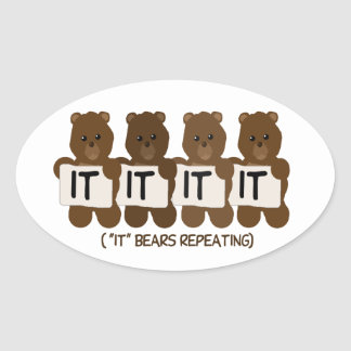 Pun: It Bears Repeating Oval Sticker