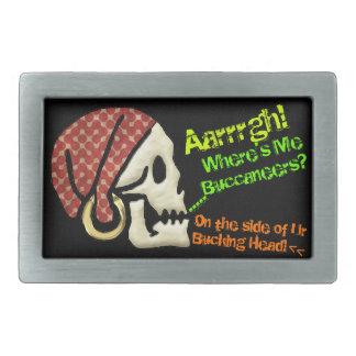 Pun-ly The Smart Aleck Pirate Skull Rectangular Belt Buckle