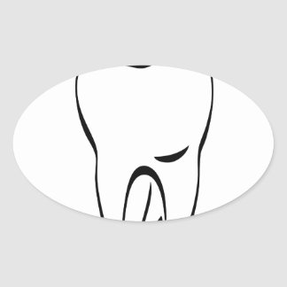 pun tooth oval sticker