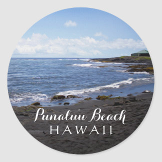 Punalu'u Black Sand Beach Hawaii Digital Oil Paint Classic Round Sticker