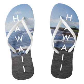 Punalu'u Black Sand Beach Hawaii w/ Text Flip Flops