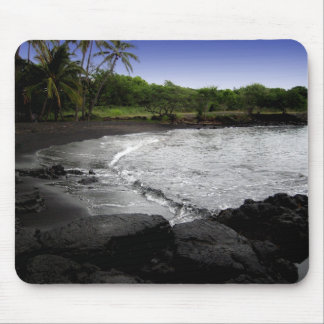 Punalu'u, playa negra de la arena, mousepad de