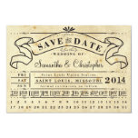 """Punch Card Vintage Ticket Banner Save the Date 3.5"""" X 5"""" Invitation Card"""