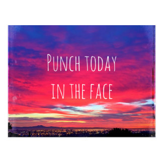 """Punch"" inspiration hot pink & blue sunrise photo Postcard"