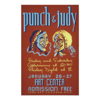 Punch & Judy Theatrical Vintage Poster