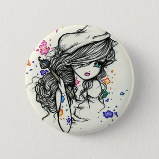 Punch of Color Artist Paint Girl Fairy Fantasy Pinback Button