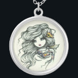"""Punch of Color Girls Tattoo Fairy by Hannah Lynn Silver Plated Necklace<br><div class=""""desc"""">This necklace was designed and created featuring the original,  hand-painted fantasy art of Hannah Lynn. To learn more about this artist,  please visit HannahLynnArt.com.</div>"""