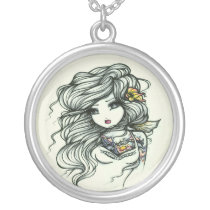 Punch of Color Girls Tattoo Fairy by Hannah Lynn Silver Plated Necklace