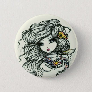 Punch of Color Tattoo Girl Fairy Fantasy Pinback Button