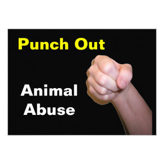 Punch Out Animal Abuse Personalized Invitations