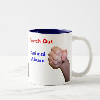 Punch Out Animal Abuse Two-Tone Coffee Mug