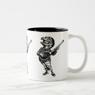 Punch playing air guitar on a tennis racket Two-Tone coffee mug